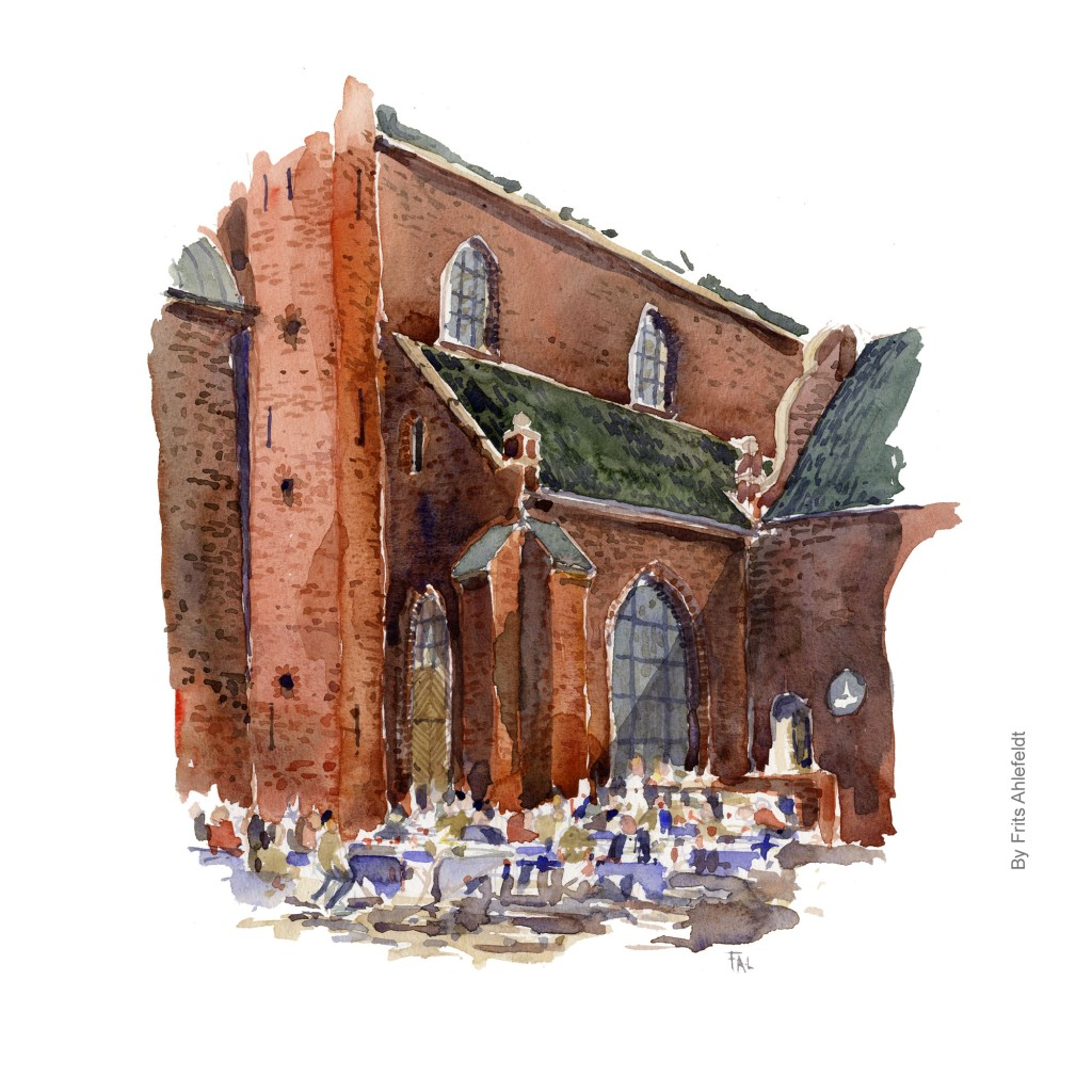 Cafe at the Nicolai church. Watercolor painting of the Nicloai Church, Copenhagen. Artwork By Frits Ahlefeldt