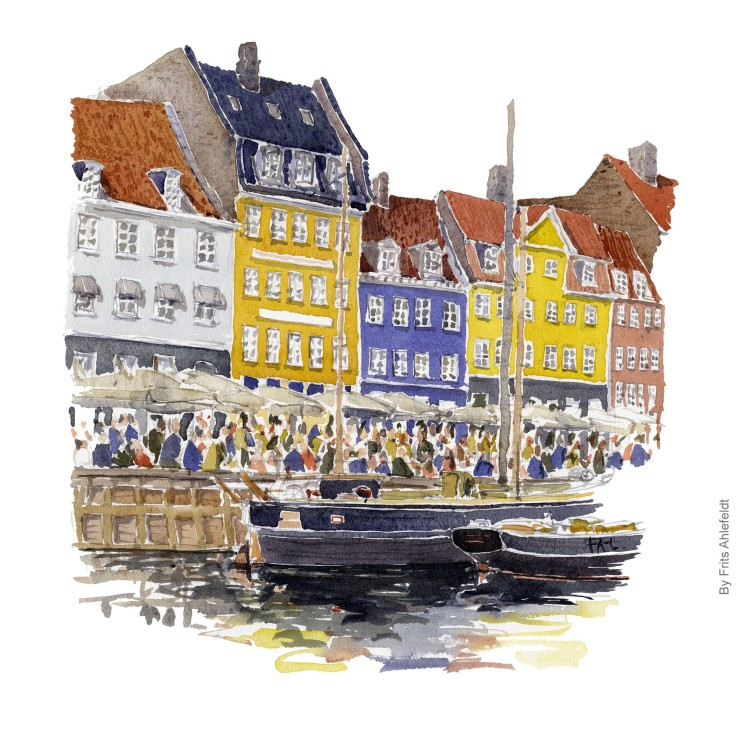 Watercolor Nyhavn watercolor Copenhagen, Denmark. Akvarel af Frits Ahlefeldt - København