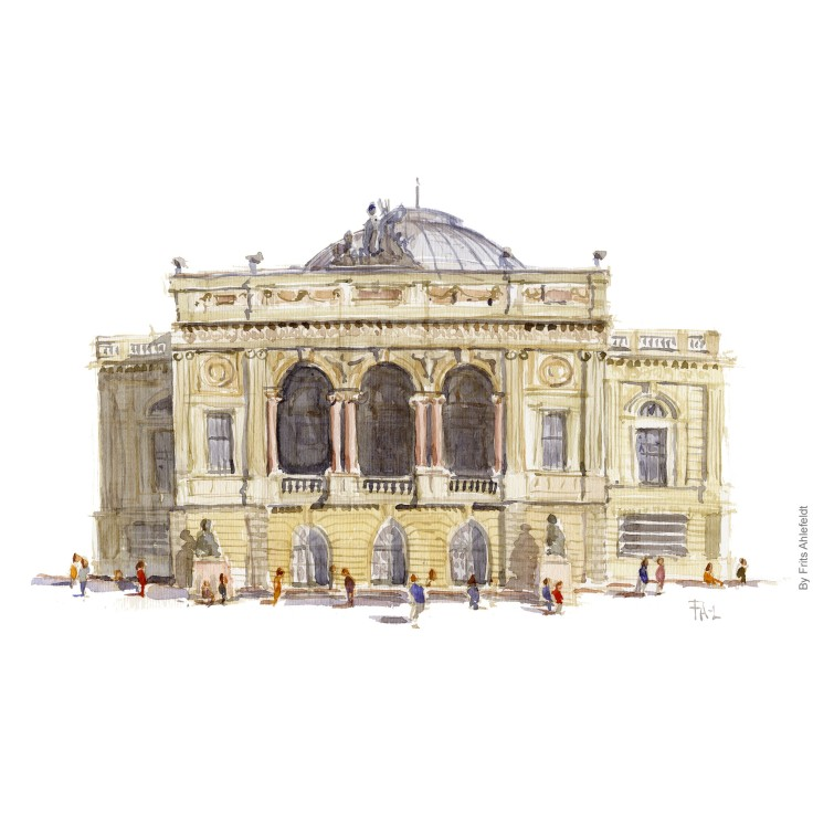 Watercolor painting of the Royal theater in Denmark. Watercolour by Frits Ahlefeldt