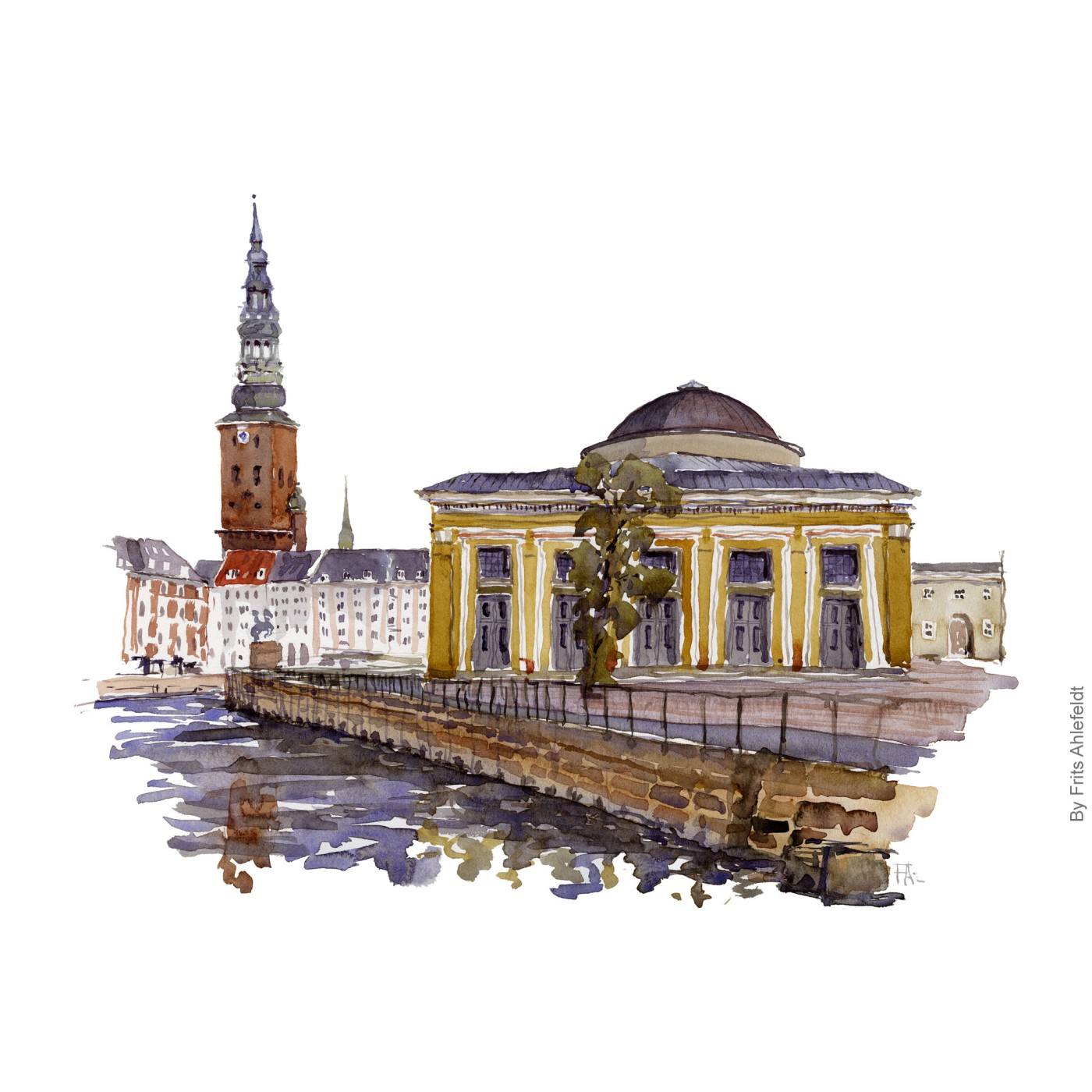 Watercolor painting of the Thorvaldsens Museum, Copenhagen, Denmark. Painting by Frits Ahlefeldt