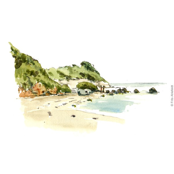 Arnager beach. Bornholm. Bornholm coast trail hiking watercolor painting by Frits Ahlefeldt