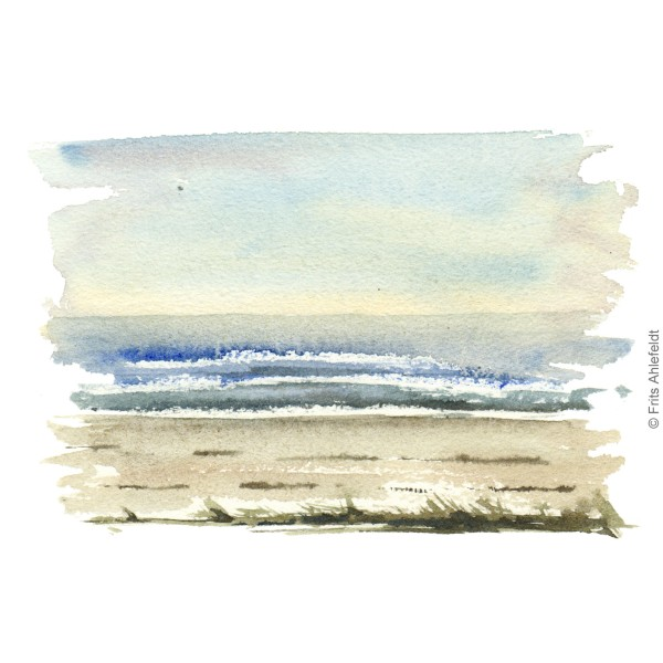 Coast view. Beach. Bornholm coast trail hiking watercolor painting by Frits Ahlefeldt
