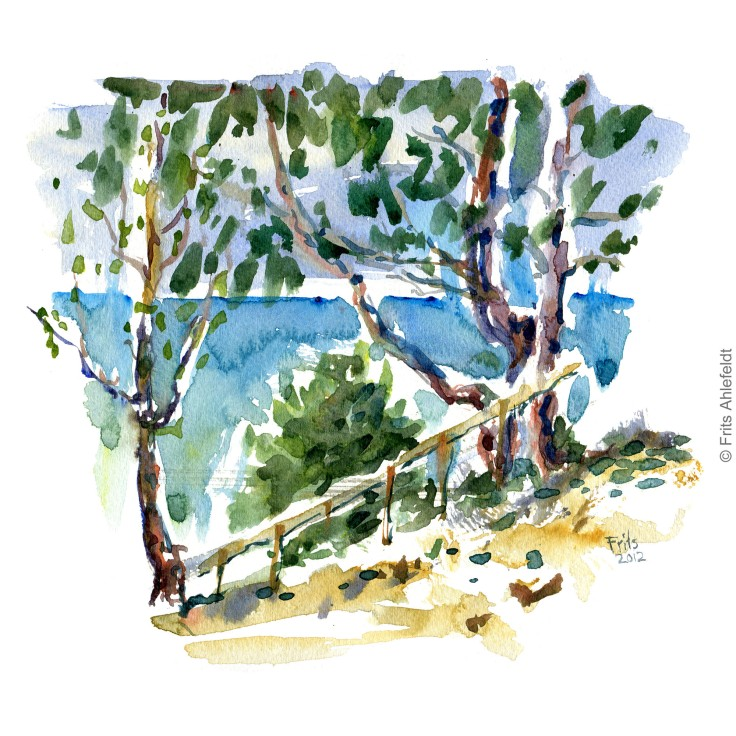 South side Bornholm Bornholm coast trail hiking watercolor painting by Frits Ahlefeldt