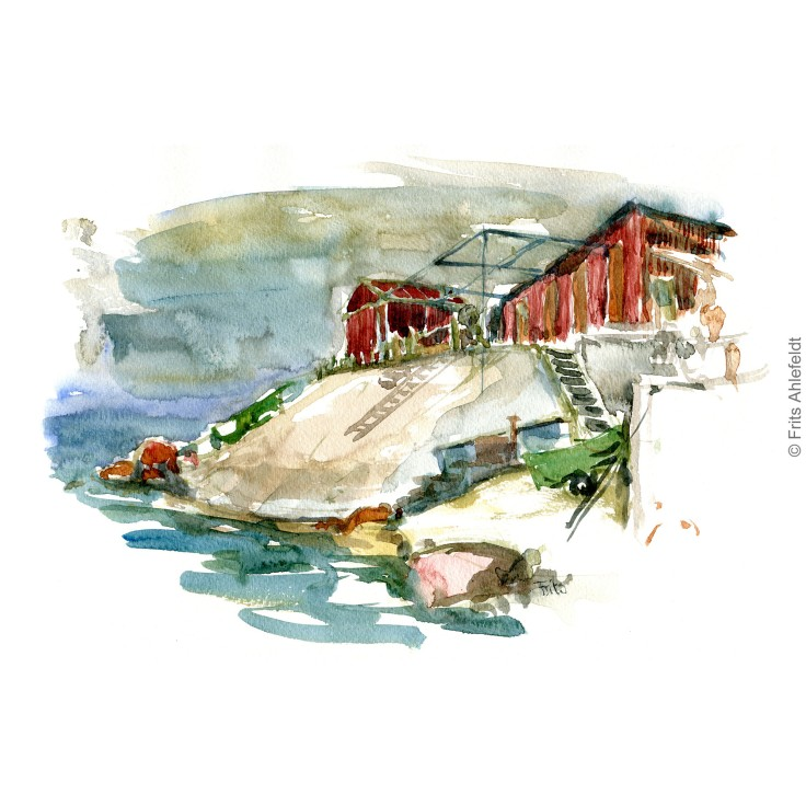 Sose odde Fishing sheds. Bornholm coast trail hiking watercolor painting by Frits Ahlefeldt