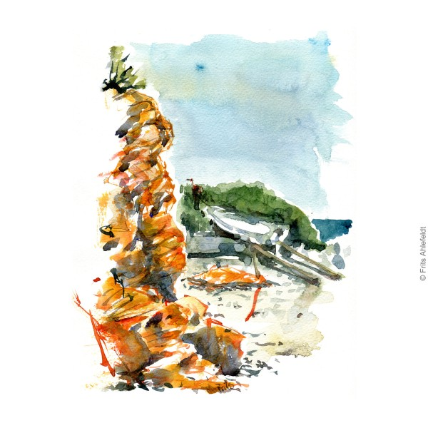 South Coast Bornholm. Red cliffs. Bornholm coast trail hiking watercolor painting by Frits Ahlefeldt