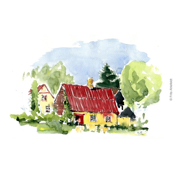 House close to Roenne. Bornholm coast trail hiking watercolor painting by Frits Ahlefeldt