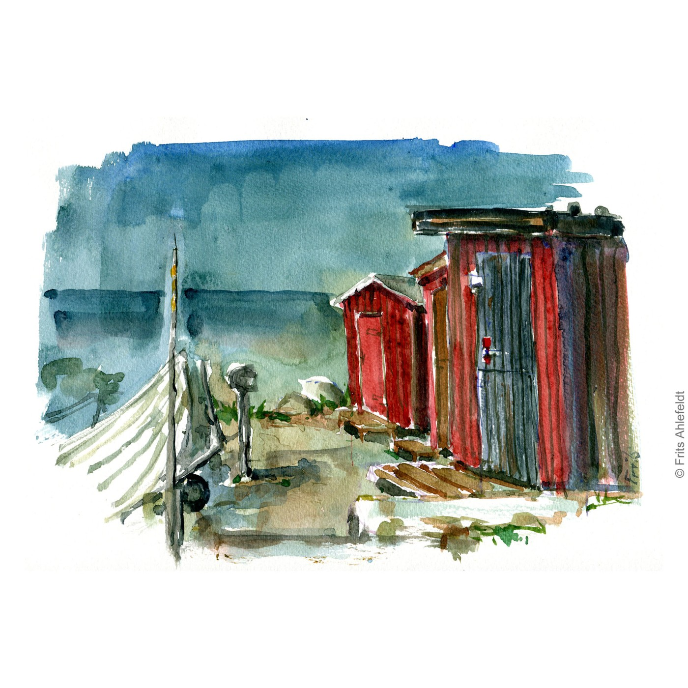 Sose Odde. South Bornholm fishing houses. Bornholm watercolor painting by Frits Ahlefeldt