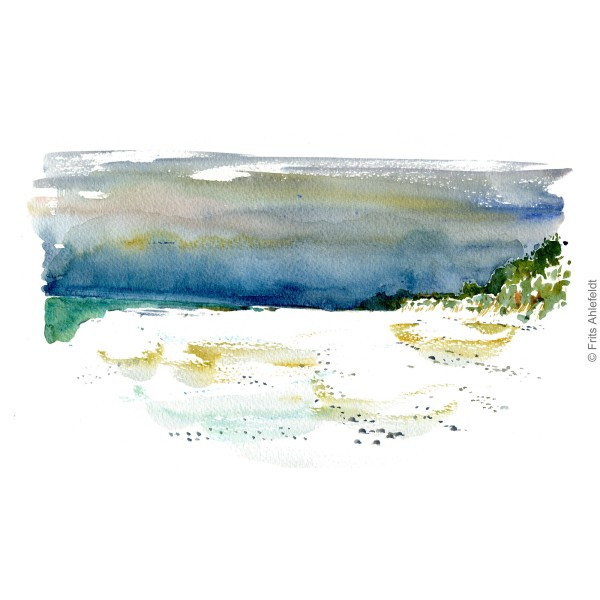 Dueodde Sand dunes. Bornholm watercolor painting by Frits Ahlefeldt
