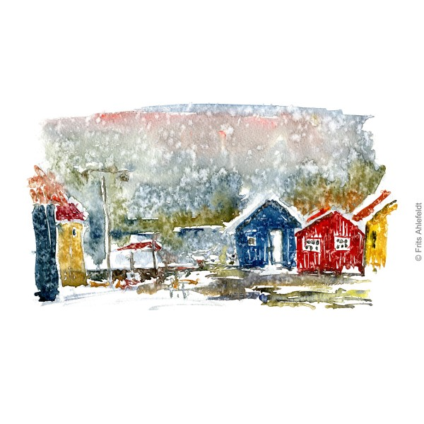 Houses in Nexo Bornholm watercolor painting by Frits Ahlefeldt