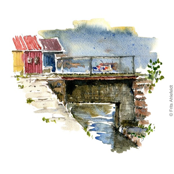 Nexo harbor. houses. Bornholm watercolor painting by Frits Ahlefeldt