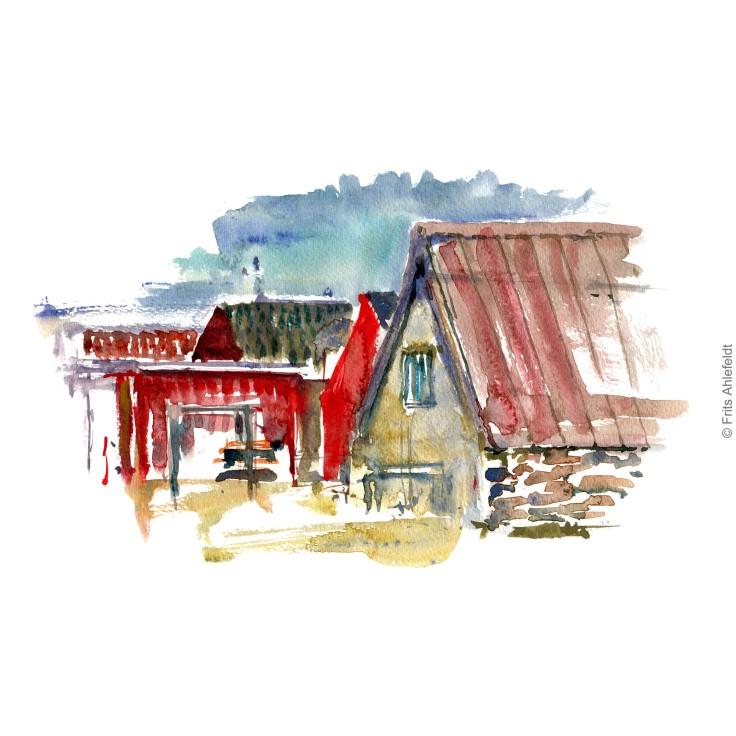 Snogebaek Fishing village. Bornholm watercolor painting by Frits Ahlefeldt