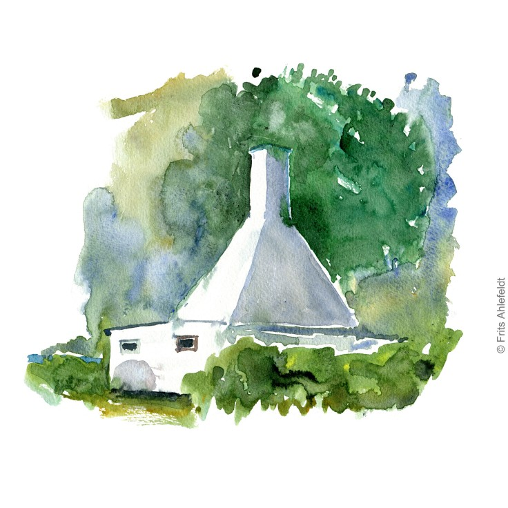 Smokehouse. Bornholm watercolor painting by Frits Ahlefeldt