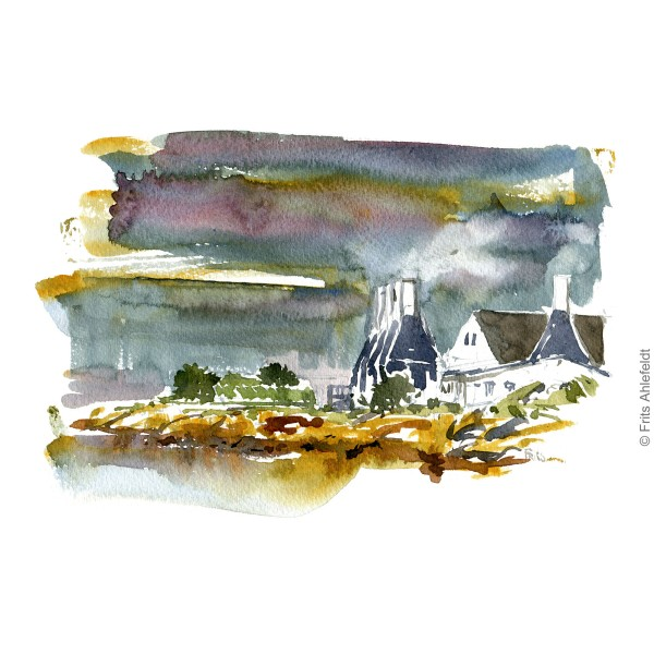 Smokeries. Herring smoking. Bornholm watercolor painting by Frits Ahlefeldt