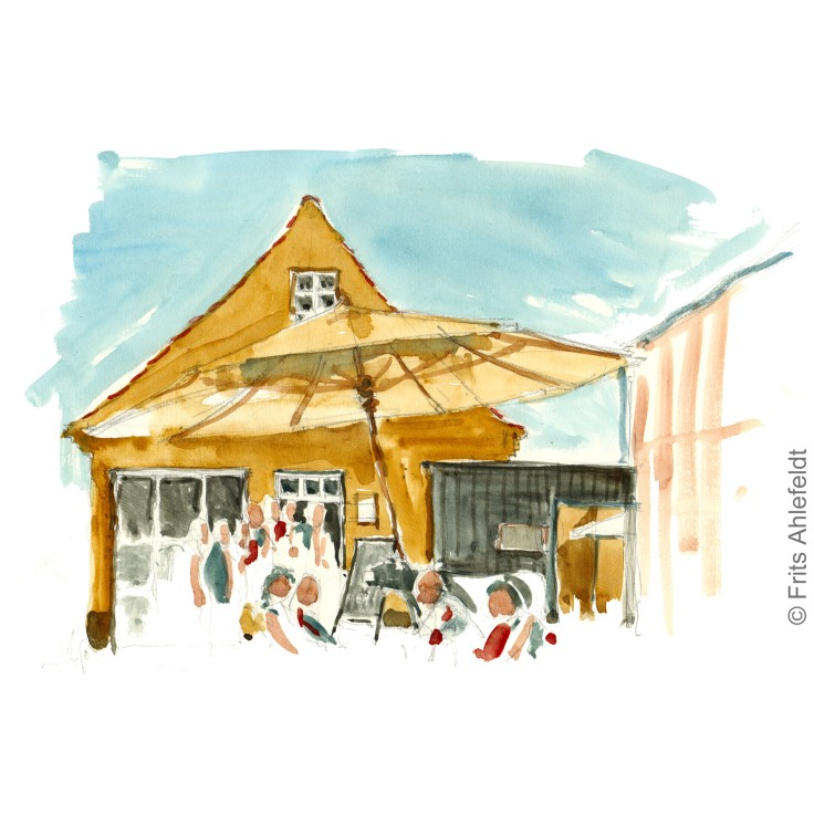 Svaneke ice cream house. Bornholm watercolor painting by Frits Ahlefeldt