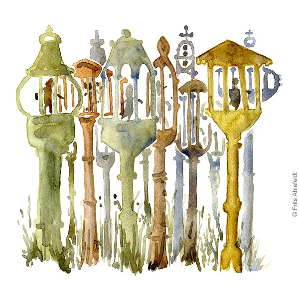 Art traditional lamp sculptures. Bornholm watercolor painting by Frits Ahlefeldt