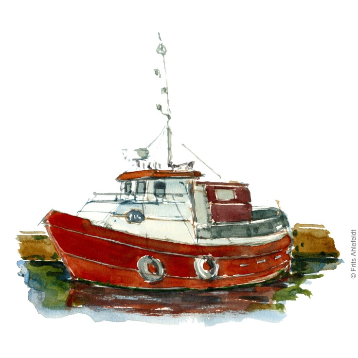 Fishing boat. Bornholm watercolor painting by Frits Ahlefeldt
