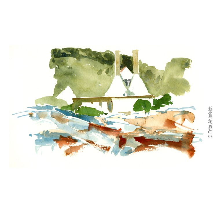 Smokehouses Bornholm watercolor painting by Frits Ahlefeldt
