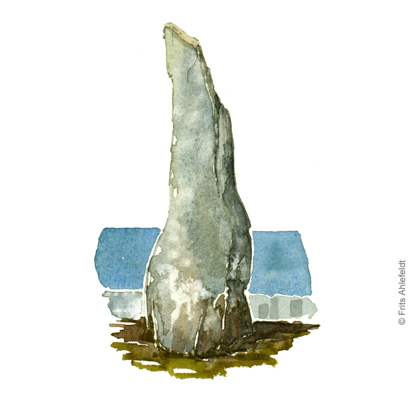 "Ancient ritual stone. ""Holy Woman"" Close to Svaneke. Bornholm watercolor painting by Frits Ahlefeldt"