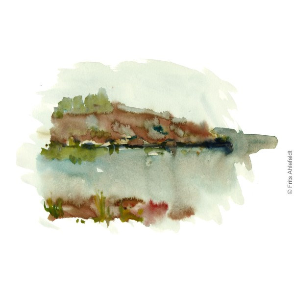 Coastal view. rainy morning. Bornholm watercolor painting by Frits Ahlefeldt