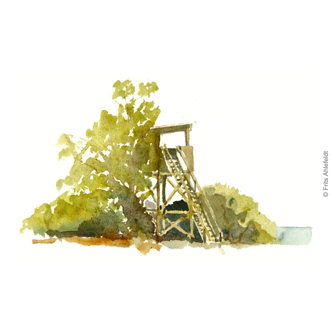 Birdwatching tower close to Nexo. Bornholm watercolor painting by Frits Ahlefeldt