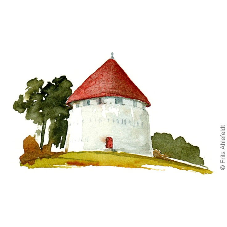 Roenne Castel defense tower. Bornholm Kastellet. watercolor painting by Frits Ahlefeldt