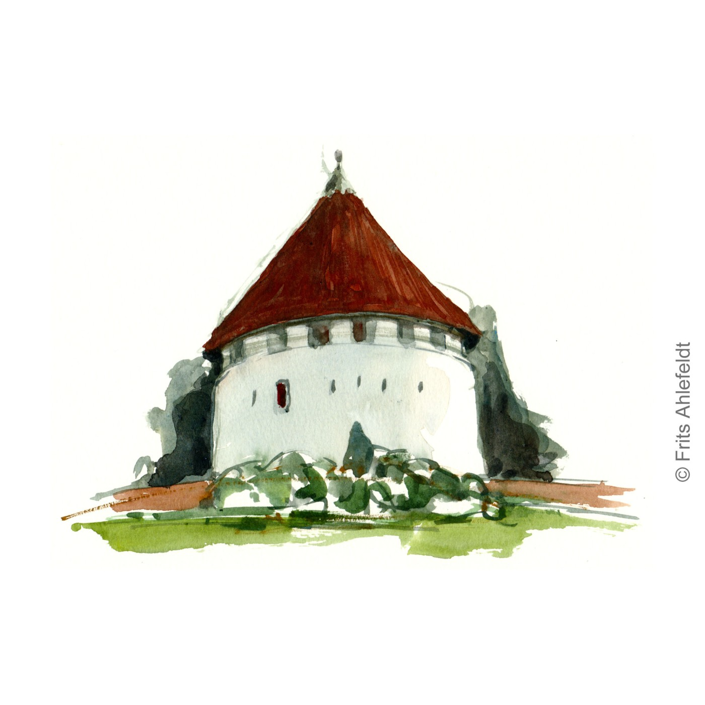 Roenne defense tower. Castel. Bornholm watercolor painting by Frits Ahlefeldt
