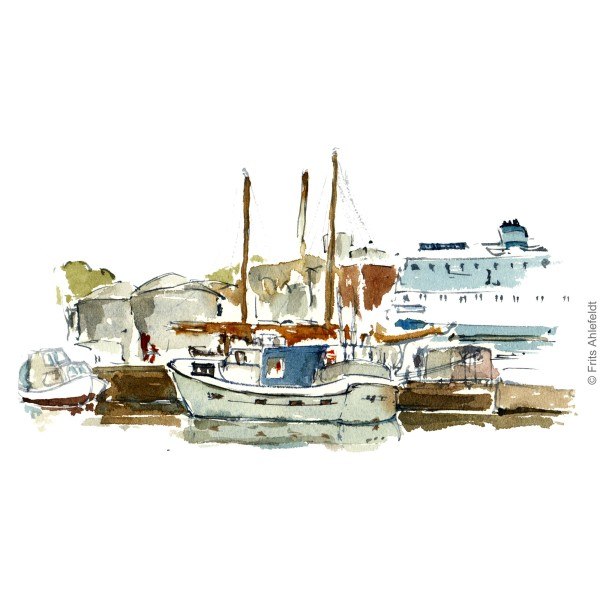 Boats and ferry in Roenne harbor. Bornholm watercolor painting by Frits Ahlefeldt