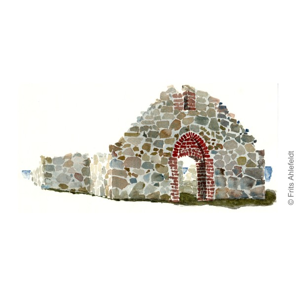 Salomon Chapel granite ruin. Hammeren Bornholm watercolor painting by Frits Ahlefeldt