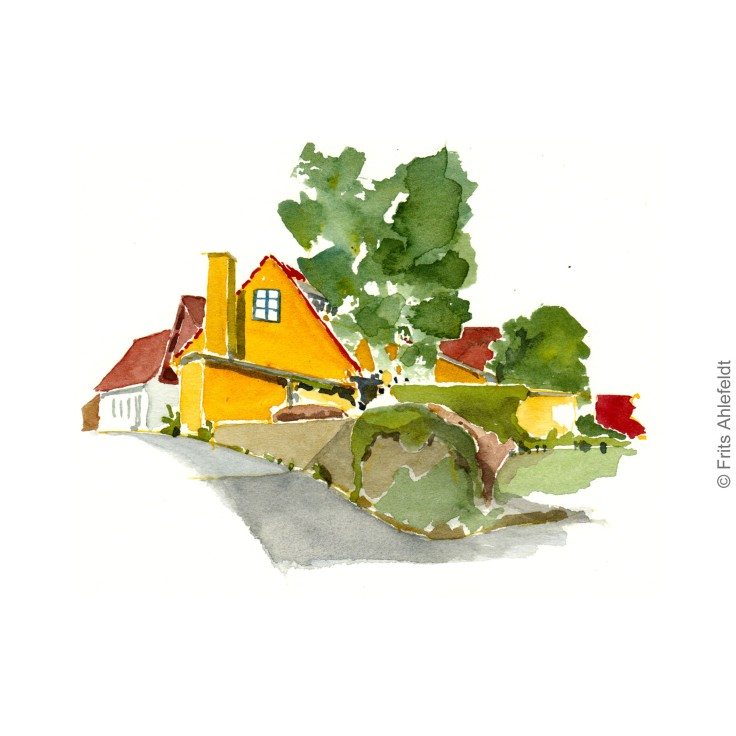 Houses - Bornholm. Bornholm watercolor painting by Frits Ahlefeldt