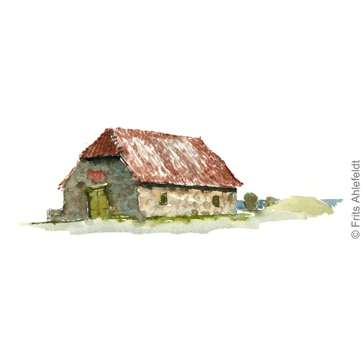 Old ammunition house. Svaneke. Bornholm watercolor painting by Frits Ahlefeldt
