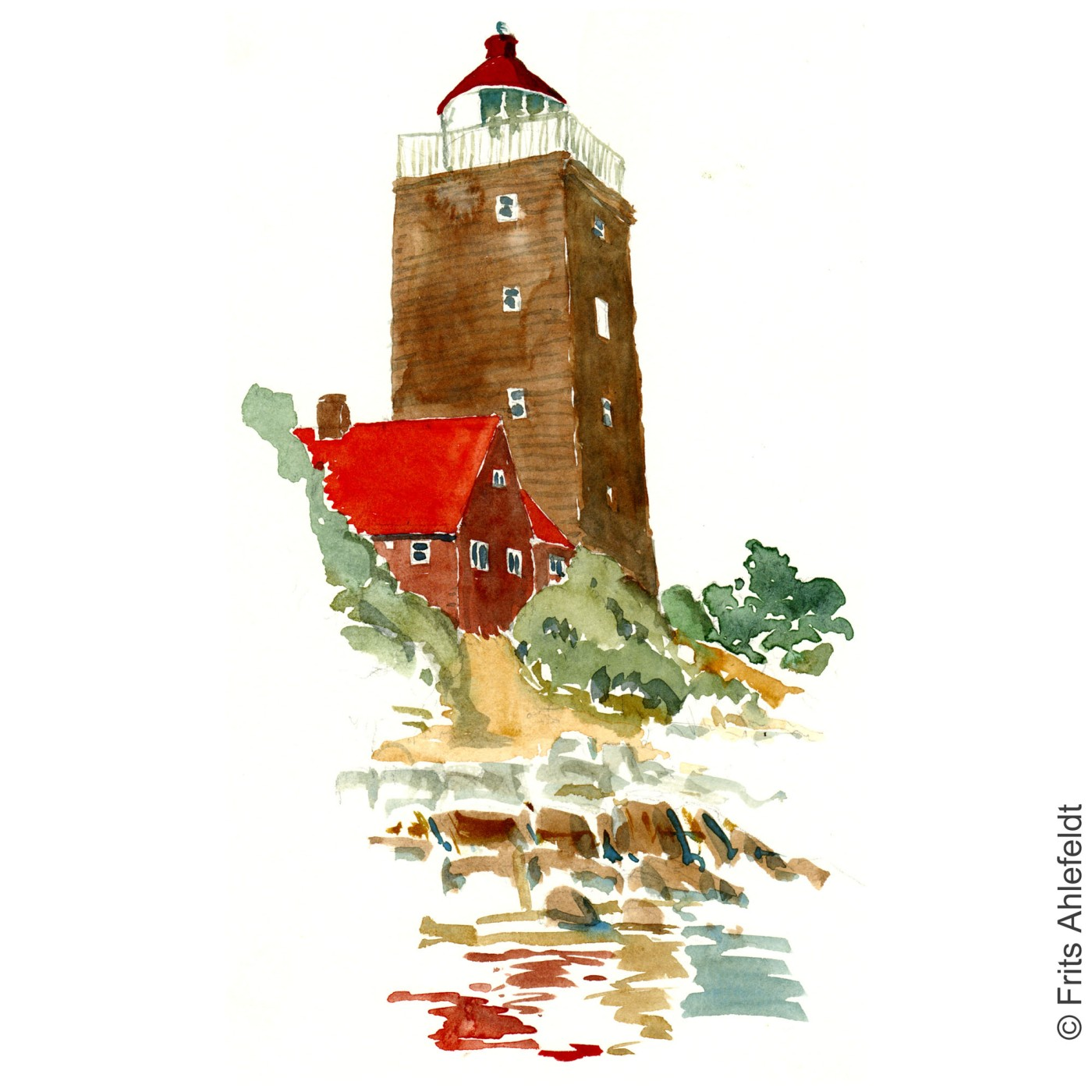 Svaneke Lighthouse. Bornholm watercolor painting by Frits Ahlefeldt