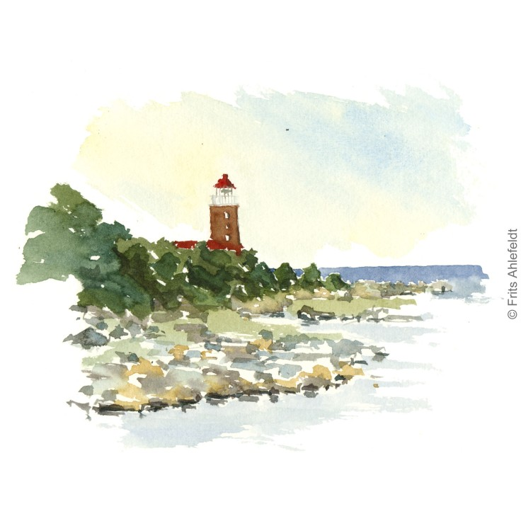 Lighhouse Svaneke in front of Baltic Sea. Bornholm watercolor painting by Frits Ahlefeldt