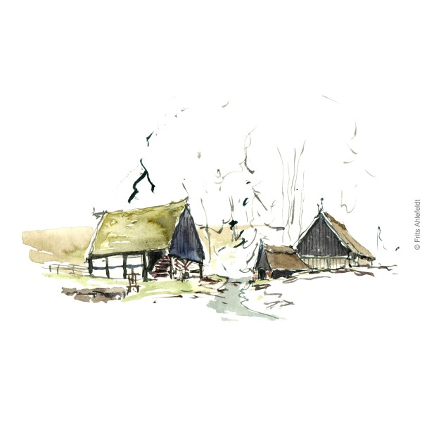 Old watermill - Southside on Bornholm. Bornholm watercolor painting by Frits Ahlefeldt
