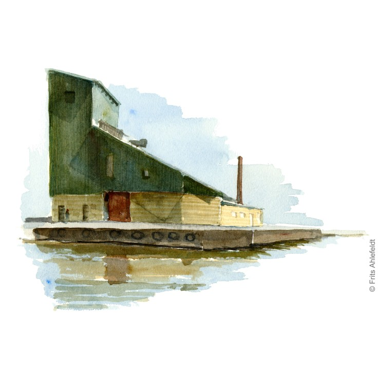 Nexo harbor building. Bornholm watercolor painting by Frits Ahlefeldt