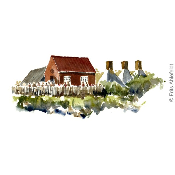 Houses in Snogebaek Smokeries in fishing village. Bornholm watercolor painting by Frits Ahlefeldt