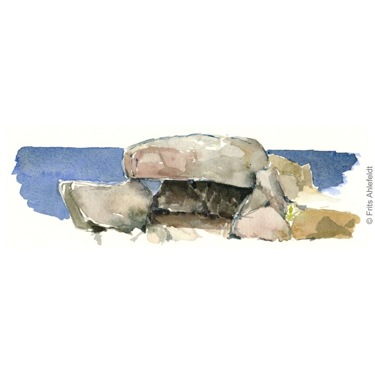 Stones in front of the Baltic Sea. Bornholm watercolor painting by Frits Ahlefeldt